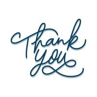 thank you on white background hand Monoline lettering vector