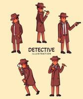 Set of Detective illustration vector