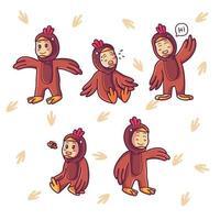 Cute kid wearing chicken costume vector
