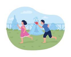 Throwing water balloons vector web banner