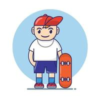 Skater Boy Hold Skateboard Illustration Cartoon Flat Style vector