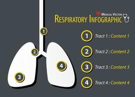diseño plano de infografía respiratoria vector