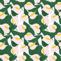 Seamless botanical pattern with pink anthurium vector