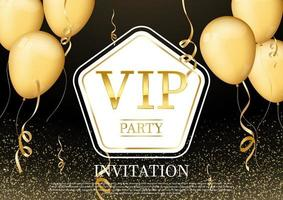 Luxurious and elegant party invitation card with beautiful ribbons gold confetti glitter and gold balloon vector