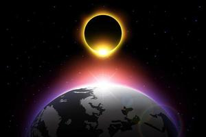 Earth and solar eclipse  Vector