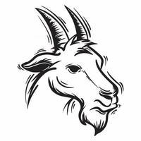 black and white goat head vector illustration