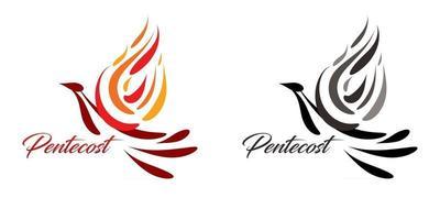 texto de pentecostés con paloma del espíritu santo vector