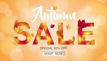 Autumn sale banner vector