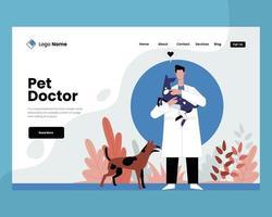 Médico de mascotas con concepto de ilustración de vector de perro