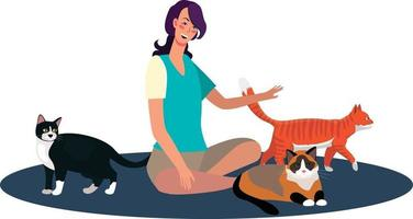 Woman with cats vector