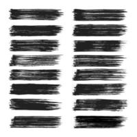 Collection of hand painted black grunge brush strokes isolated on white background vector