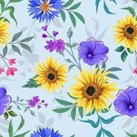Seamless pattern with botanical floral design illustration vector