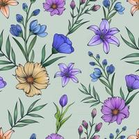 Hand drawn colorful botanical seamless floral pattern vector