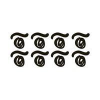 Twister formas circulares y líneas de diseño creativo con estilo de silueta de trazo de pincel vector