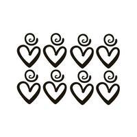 Twisters y corazones diseño creativo con estilo de silueta de trazo de pincel vector