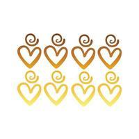 Twisters y corazones de diseño creativo con estilo degradado de trazo de pincel vector