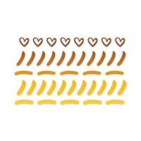 hearts and lines creative design with brush stroke degradient style vector