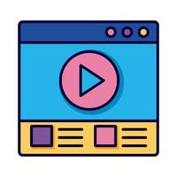 template webpage with play button education online line and fill style icon vector