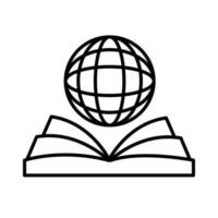 sphere browser with ebook line style icon vector