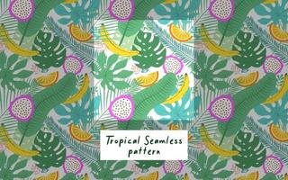 Summer tropicalleaves and fruits background pattern vector