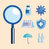 paquete de siete iconos de conjunto de vacuna covid19 vector