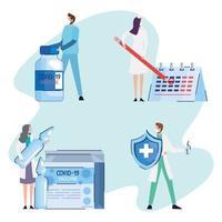 Viales de vacuna covid19 en caja con dctors personal y escudo vector