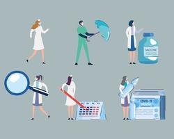 Frascos de vacuna covid19 y personal médico con iconos de conjunto vector