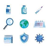paquete de nueve iconos de conjunto de vacuna covid19 vector