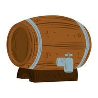 Barril de cerveza de madera con icono de grifo vector plano