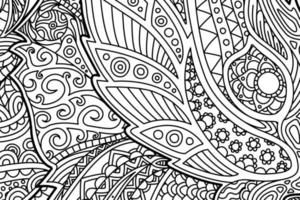 Coloring book page with abstract floral pattern vector