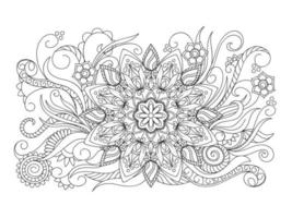 Flower Mandala Vintage decorative elements Oriental pattern colouring book page for adults and children white and black round vector illustration
