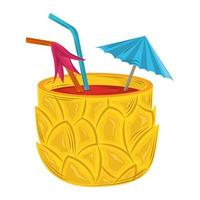 cocktail pineapple drink vector