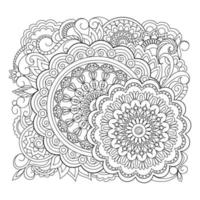 Artistic decorative mandala design colouring book page for adults and children white and black round decorative Oriental Anti stress therapy patterns vector