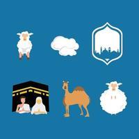 set element eid al adha muslim blue white sheep haj hadj hadji camel cloud vector