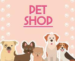 pet shop cute dogs animals canine various breed vector