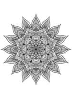 Coloring book page with abstract floral pattern decorative mandala design vector