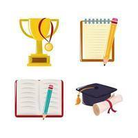 back to school trophy graduation hat book and pencil icons set vector