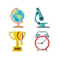 back to school map microscope trophy clock icons set vector
