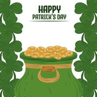 happy patricks day cauldron with coins and clovers border decoration card vector