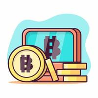 coin with computer for bitcoin concept symbol illustration in flat style vector