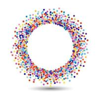 Multicolored dot frame design colorful halftone fade Bright colored polka dots on white background Vector design