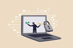 Ransomware computer crime hacker attack company network ask for money to unlock data via internet concept hacker in computer laptop monitor ask for ransom money to unlock the computer vector