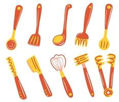 Set of kitchen tools Lots of kitchen utensils cutlery Spatula whisk tongs fork ladle skimmer  Kitchenware collection Vector flat illustration For Cooking