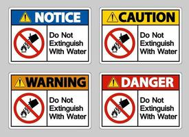 Do Not Extinguish With Water Symbol Sign On White Background vector