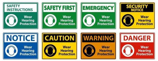 Wear hearing protection sign on white background vector