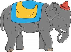 cute gray elephant wearing a circus hat perfect for design project vector