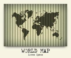 Vector of world map on cardboard