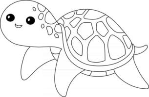 Sea Turtle Kids Coloring Page Great for Beginner Coloring Book vector