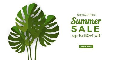 summer sale offer banner promotion with monstera tropical leaves with white background vector