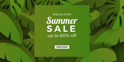 summer sale offer banner promotion with tropical leaves botanical green jungle vector